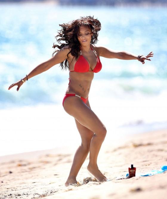 Melanie Brown - Hits Malibu beach in a red bikini -07