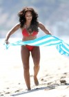 Melanie Brown - Hits Malibu beach in a red bikini -11