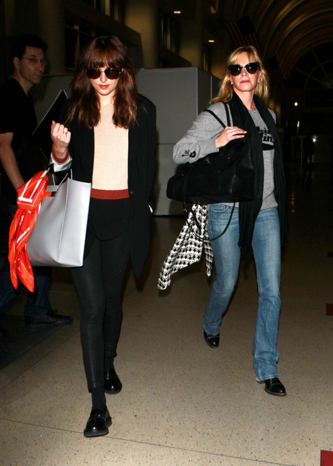 Melanie Griffith and Dakota Johnson at LAX in LA