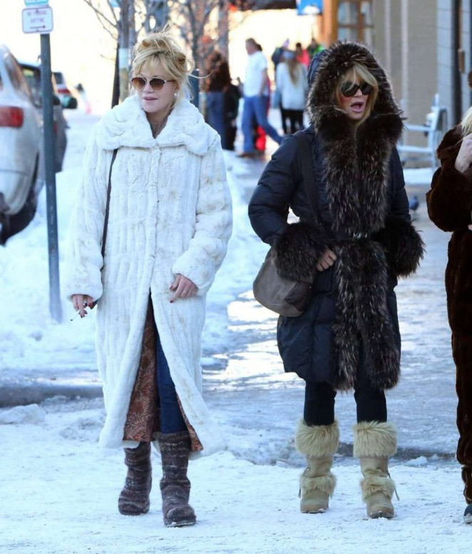 Melanie Griffith and Goldie Hawn out in Aspen