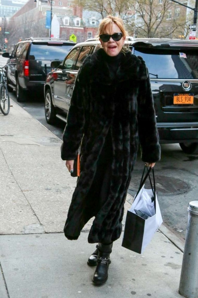 Melanie Griffith in Black Coat out in NYC