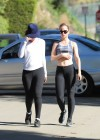 Mena Suvari show her body in black spandex in LA-05