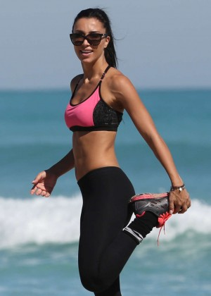 Metisha Schaefer in Leggings - Filming Workout Video on Miami Beach