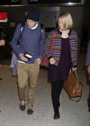 Mia Wasikowska & Jesse Eisenberg at LAX Airport in Los Angeles