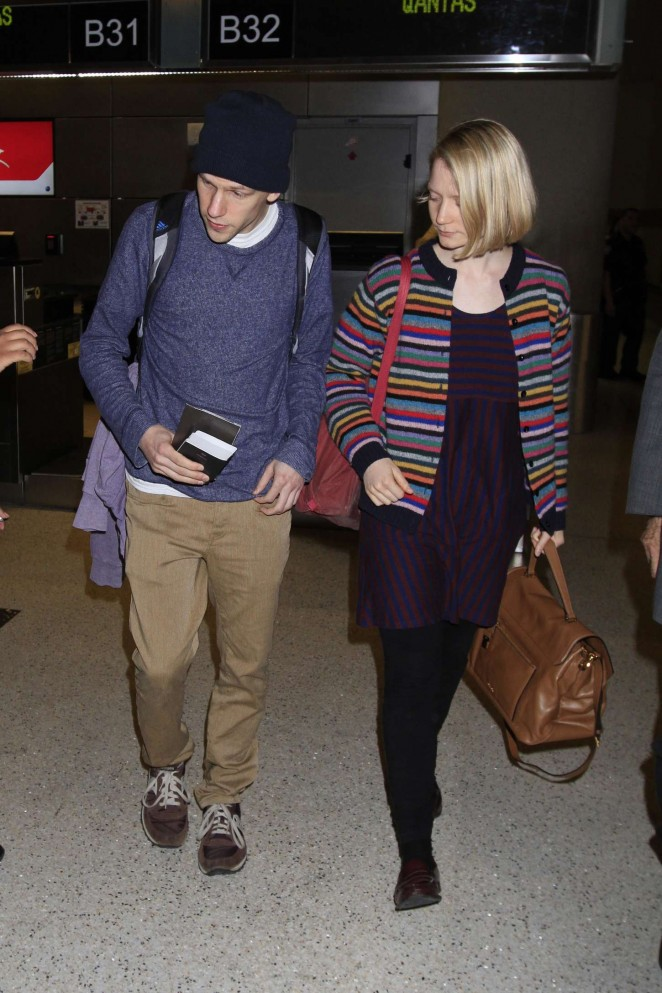 Mia Wasikowska & Jesse Eisenberg at LAX Airport in Los Angeles