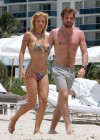 Michelle Hunziker - Wear thong bikini in Miami-01