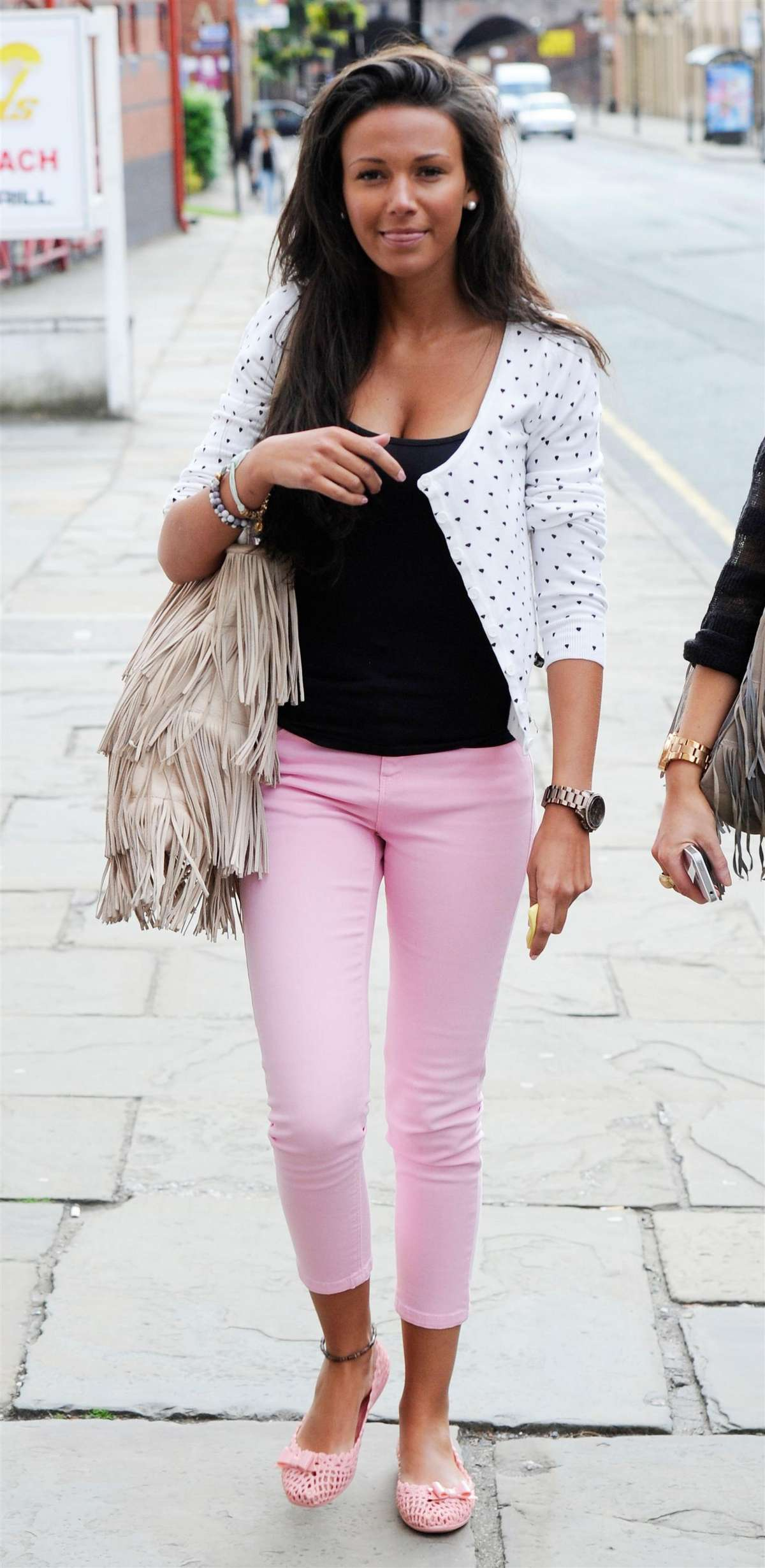 Michelle Keegan - Pink skinny pants candids In Manchester