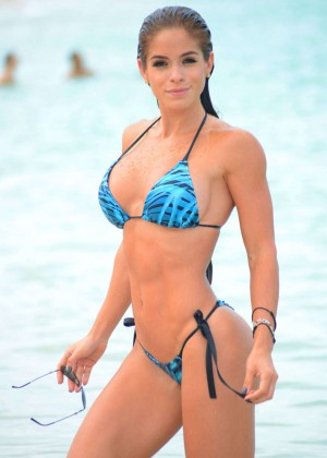 Michelle Lewin in Blue Bikini on the Beach in Miami