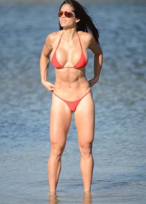 Michelle Lewin Red Bikini Photos: 2014 in Miami -01