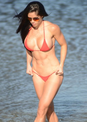 Michelle Lewin Red Bikini Photos: 2014 in Miami -02