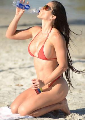 Michelle Lewin Red Bikini Photos: 2014 in Miami -03