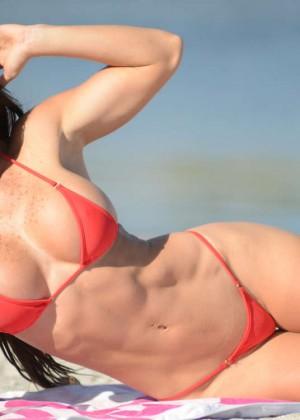 Michelle Lewin Red Bikini Photos: 2014 in Miami -04