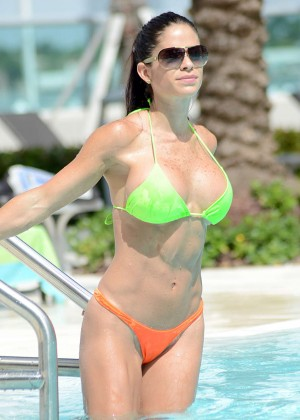 Michelle Lewin - Wearing Bikini at Poolside In Miami