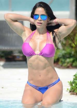 Michelle Lewin in Bikini at the pool in Miami
