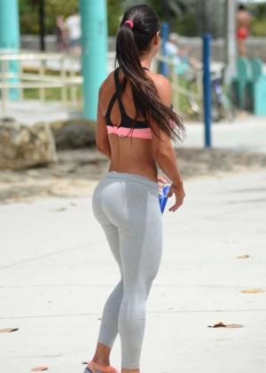 Michelle Lewin: in Grey Yoga Pants -02 - GotCeleb