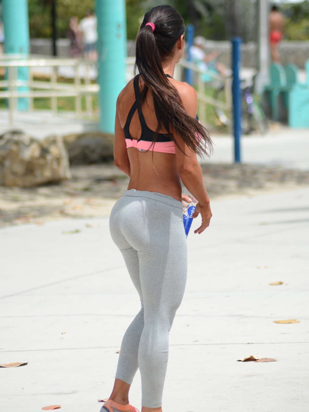Michelle Lewin In Grey Yoga Pants 02 Gotceleb