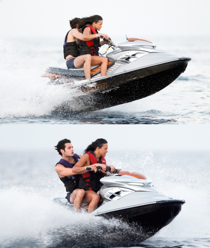 Michelle Rodriguez in Ibiza riding jetskis