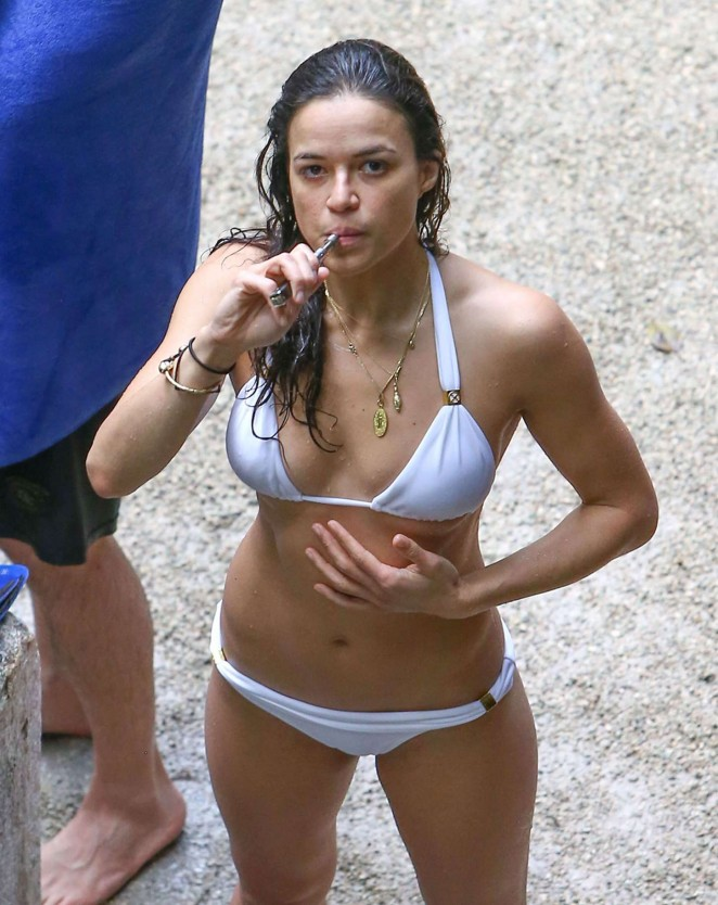 Michelle Rodriguez in White Bikini in Mexico