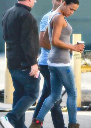 Michelle Rodriguez on the set of Fast 7