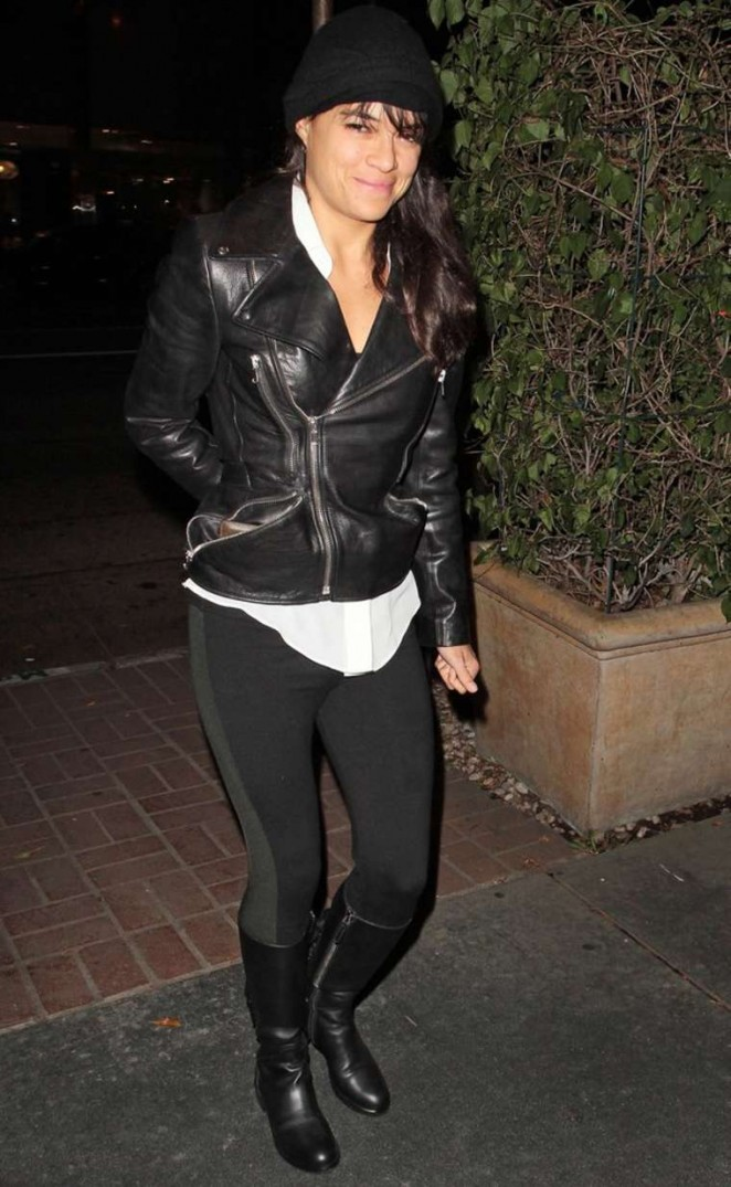 Michelle Rodriguez in Tights and Leather Jacket out and about in Madeo