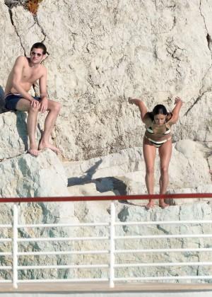 Michelle Rodriguez Striped bikini -10