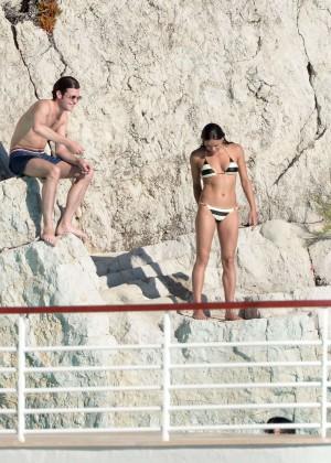 Michelle Rodriguez Striped bikini -11