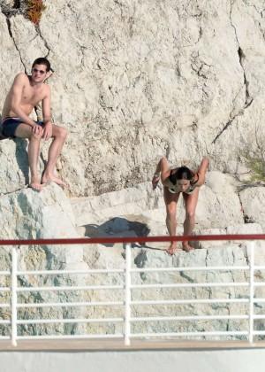 Michelle Rodriguez Striped bikini -12