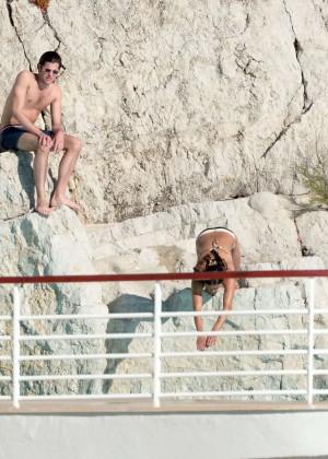 Michelle Rodriguez Striped bikini -16