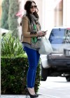 Michelle Trachtenberg wear skinny blue pants and high heels at  The UTA Office In LA