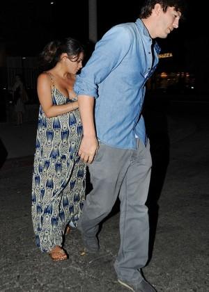 Mila Kunis & Ashton Kutcher - Exit from dinner in Melrose