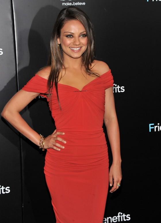 Mila Kunis In Sexy Red Dress At Friends With Benefits
