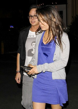 Mila Kunis in Purple Mini Dress -13