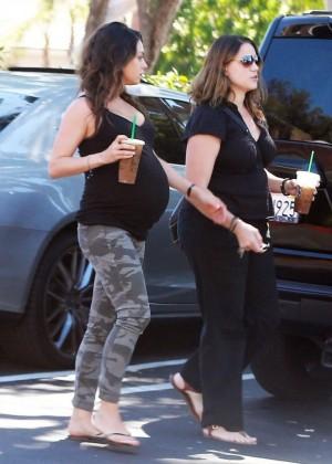 Mila Kunis in Tight Pants Leaving Starbucks in Studio City