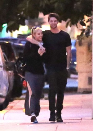 Miley Cyrus and Patrick Schwarzenegger Street Style - Out in Malibu