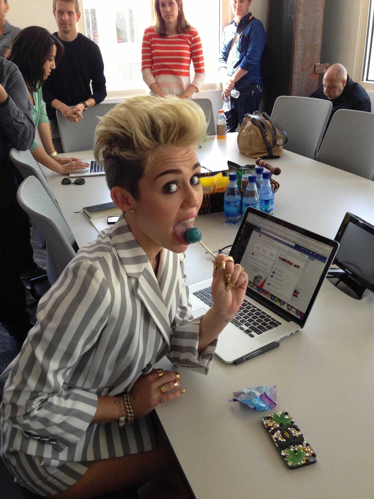 Miley Cyrus at Facebook Headquarters -02 - GotCeleb