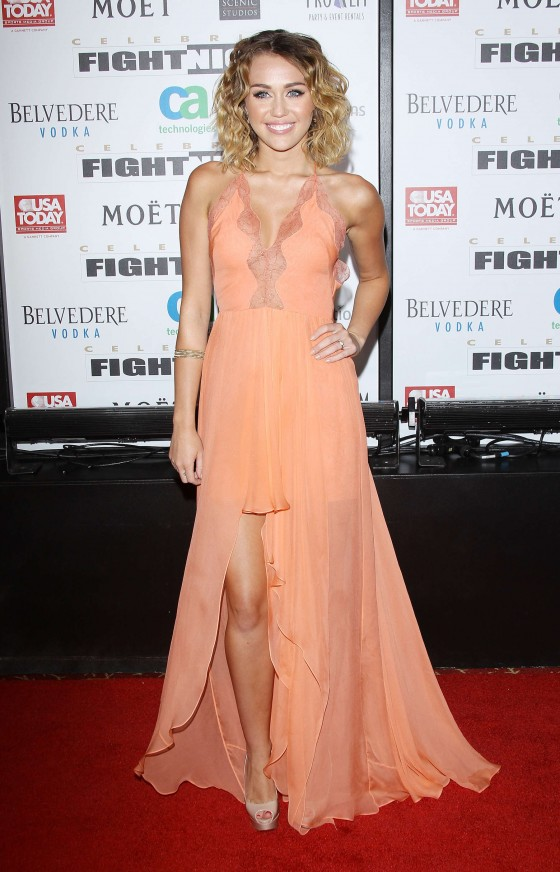 Miley Cyrus cleavage at Celebrity Fight Night-36