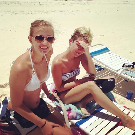 Miley Cyrus In a bikini at a Beach in The Bahamas