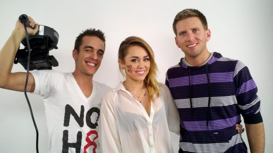 Miley Cyrus – Black Bra on set of a NOH8 shoot-01