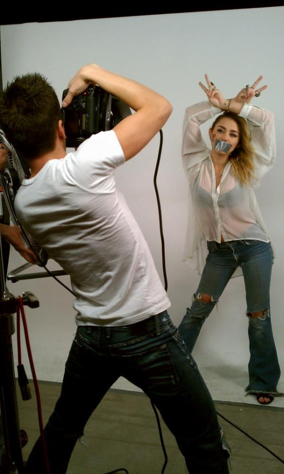 Miley Cyrus – Black Bra on set of a NOH8 shoot-02
