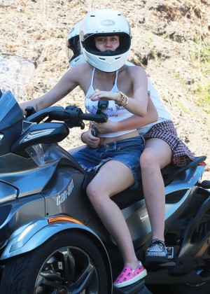 Miley Cyrus - Riding a Motorcycle in Beverly Hills