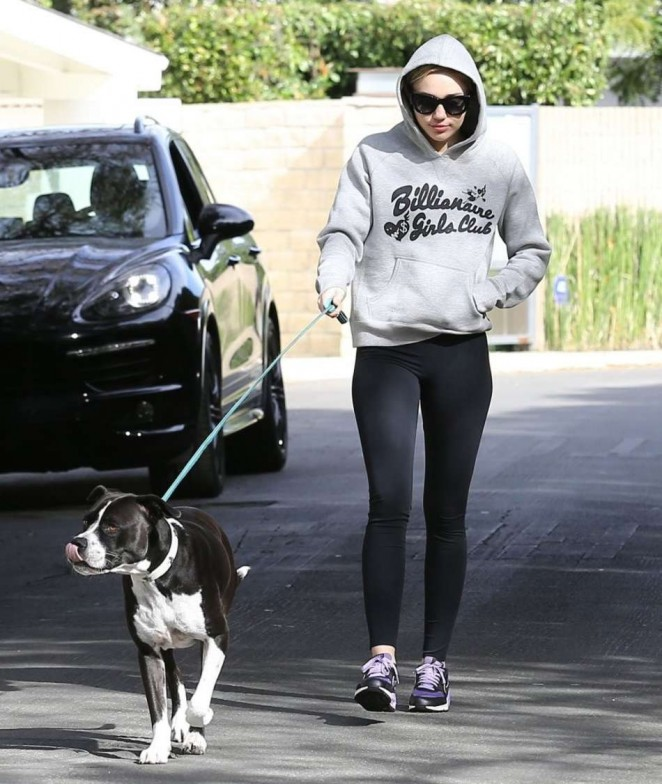 Miley Cyrus in Spandex - Walking her dog in LA