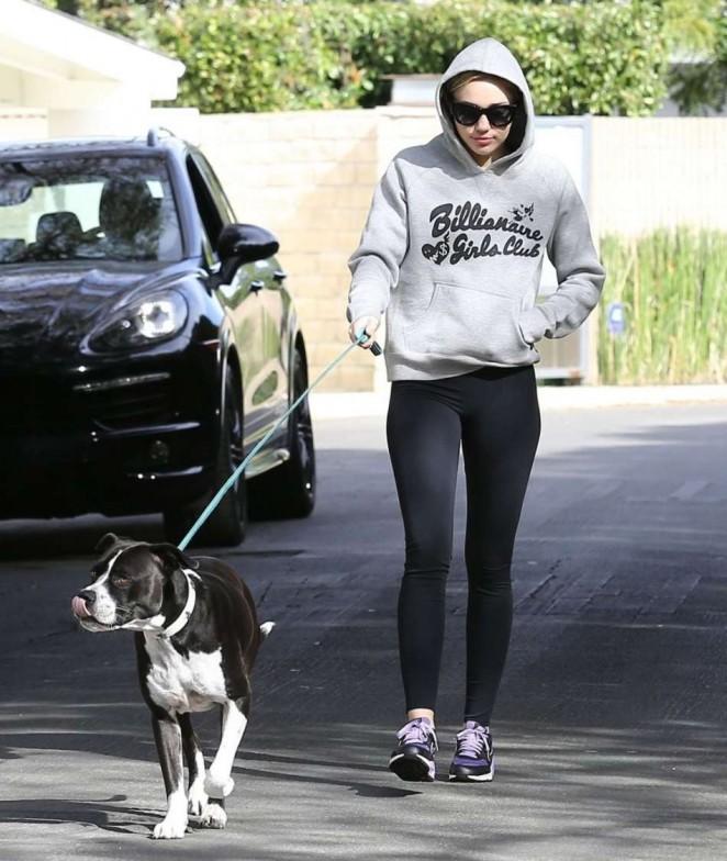Miley Cyrus in Spandex - Walking her dog in LA