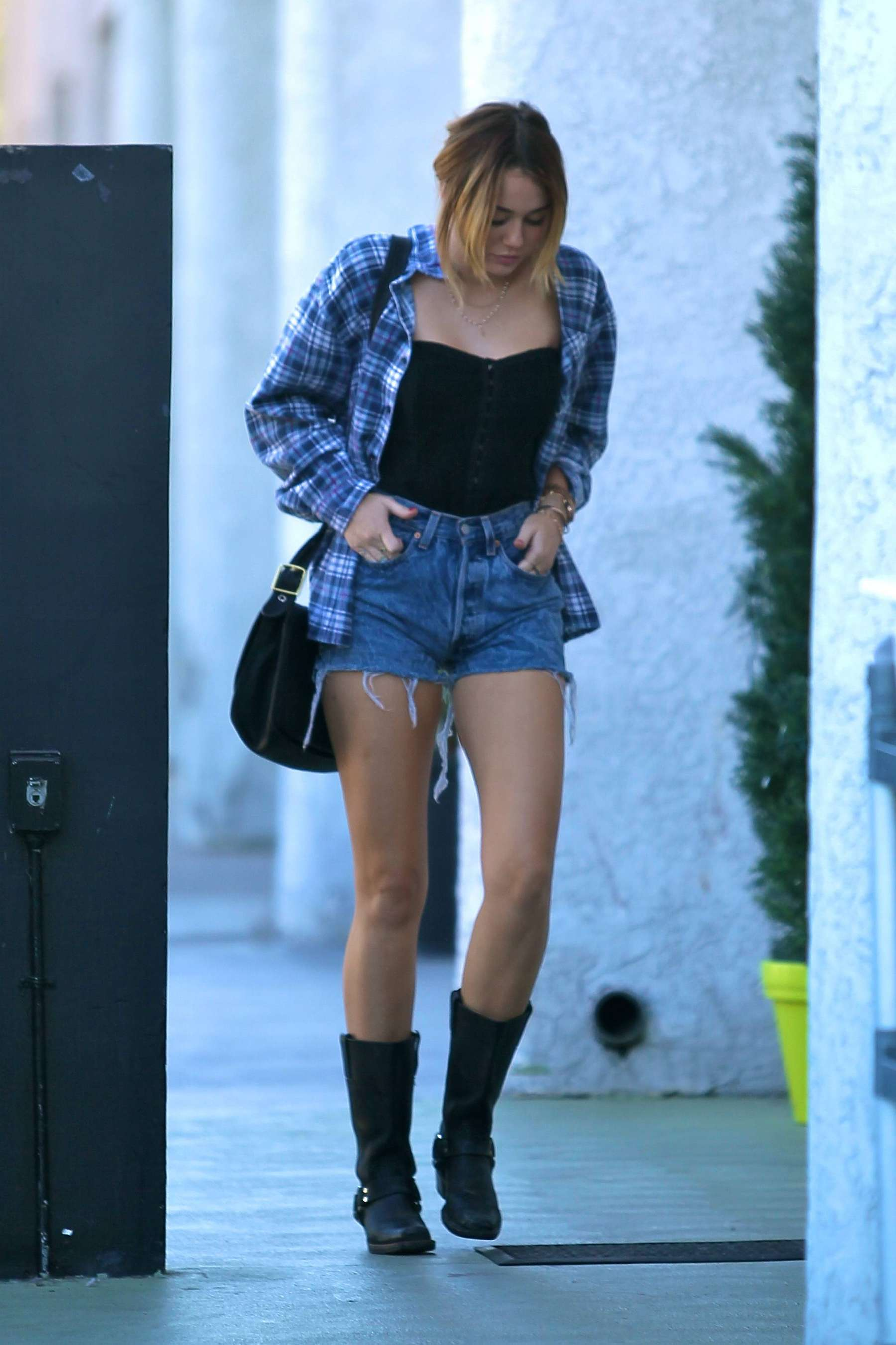 3b77ee7683a Miley Cyrus is HOT in a Black Corset and Jeans Shorts in Hollywood ...
