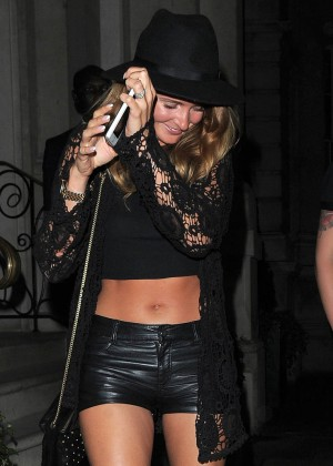 Millie Mackintosh in Leather Shorts Leaving Nightclub in London