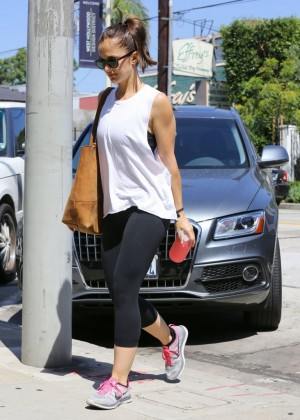Minka Kelly in Tights - Heads to the Gym in LA