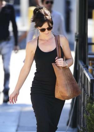 Minka Kelly in Tight Blak Dress Leaving Hugo's in West Hollywood