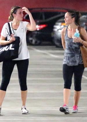 Minka Kelly & Mandy Moore in Tight Leggings Leaving Soul Cycle in West Hollywood