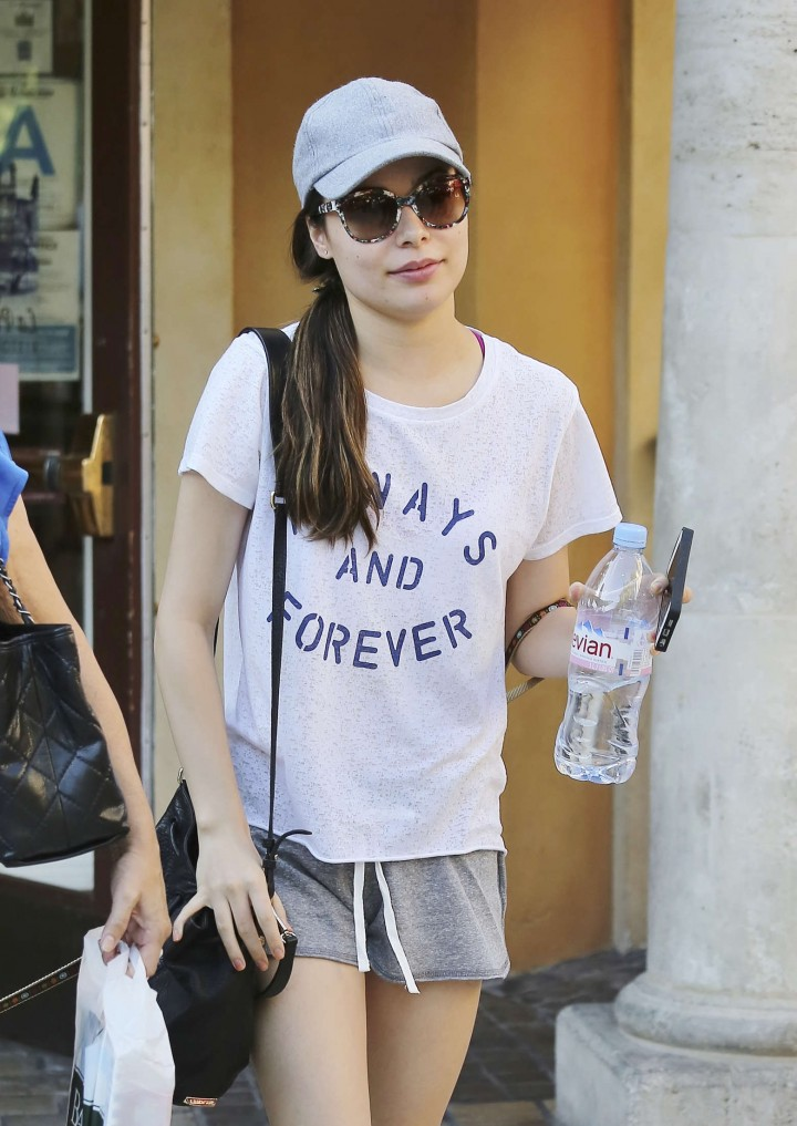 Miranda Cosgrove in shorts at The Grove in West Hollywood