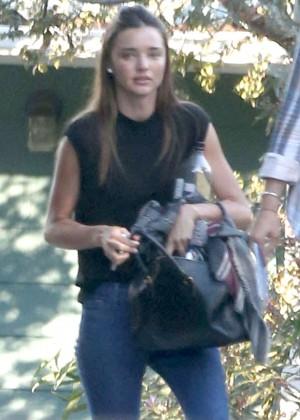 Miranda Kerr in Jeans Leaving a private gym in LA