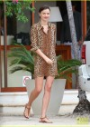 Miranda Kerr - Leggy in leopard print dress -02